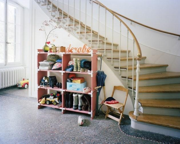 Home staircase in vintage interior design style