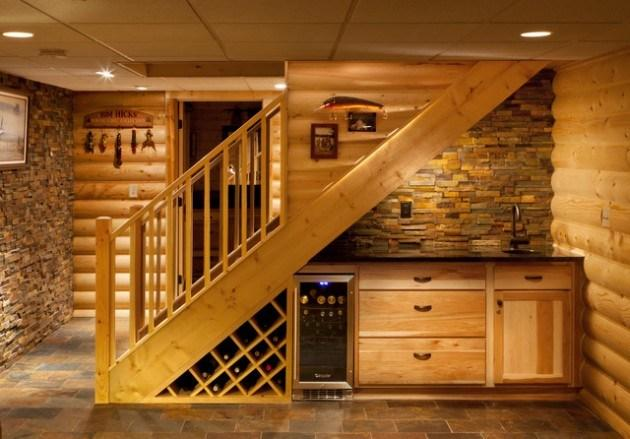 Home staircase inside a basement with wood cladding