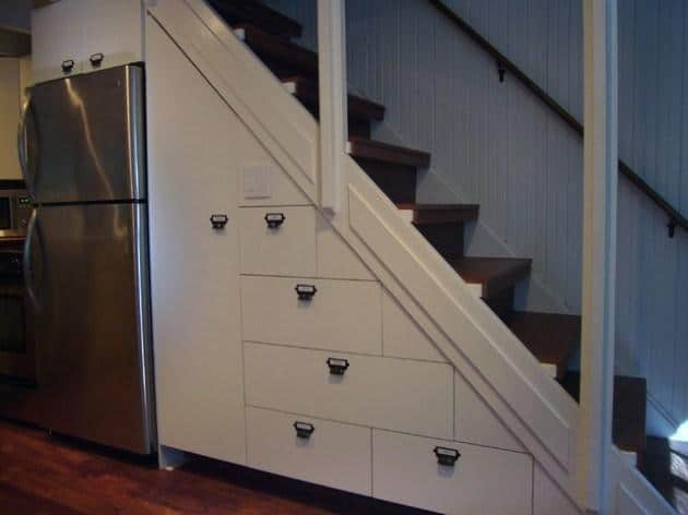 Home staircase leading to the second floor of the contemporary small house