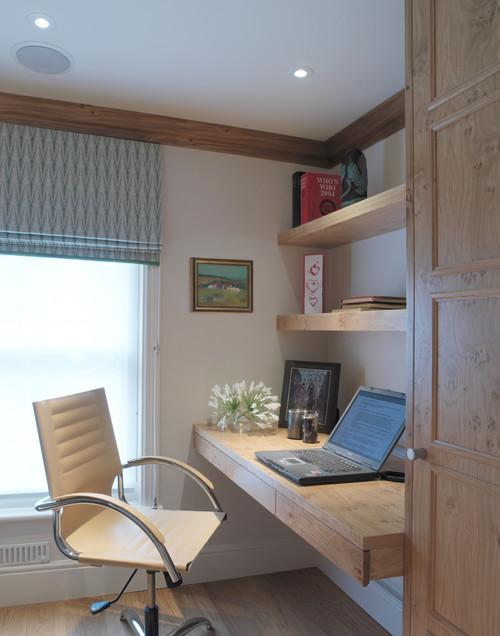 Home working space with wooden panel- personal office design ideas