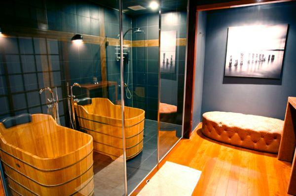 Japanese bathroom with bamboo tub
