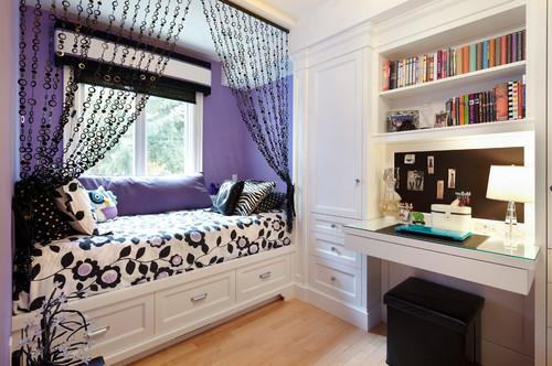 Kids room design for teenagers in elegant purple