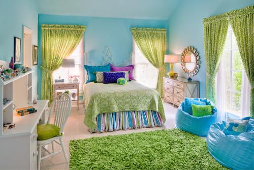 Kids room design with a lot of colorful accents in blue, green and purple