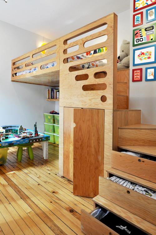Kids room design with functional ladder leading to the bed