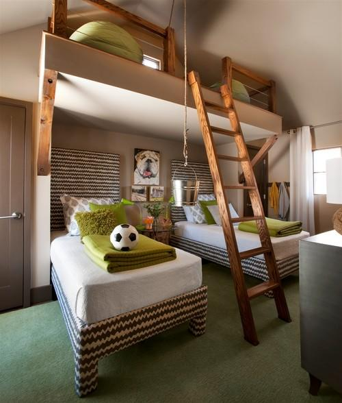 Kids room design with two beds and ladder