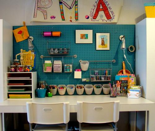 Kids room with a corner for different craft works