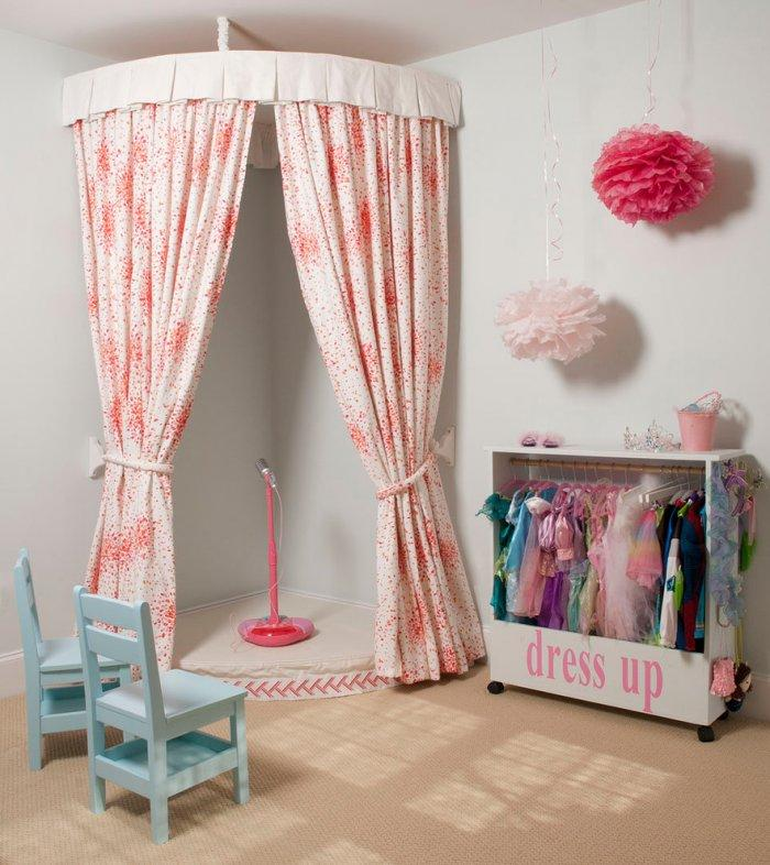 Kids room with personal performance stage for girls