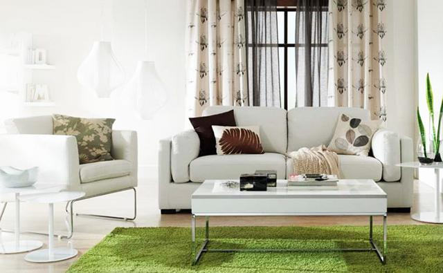 Living room interior with green rug and beautiful curtains