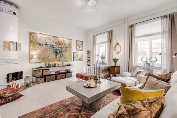 Living Room With Art Accents Greek Interior Design Style In White