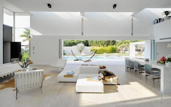 Living room with white furniture -Minimalist Villa in France