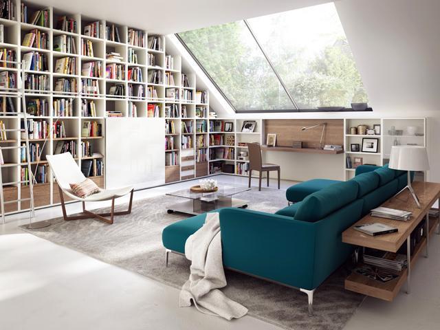 Low profile textile sofa in blue– for amazing living room interior design