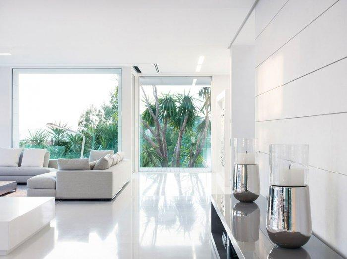 luxury villa and its white modern living room with contemporary