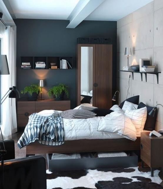 Master bedroom in a modern flat with urban interior style