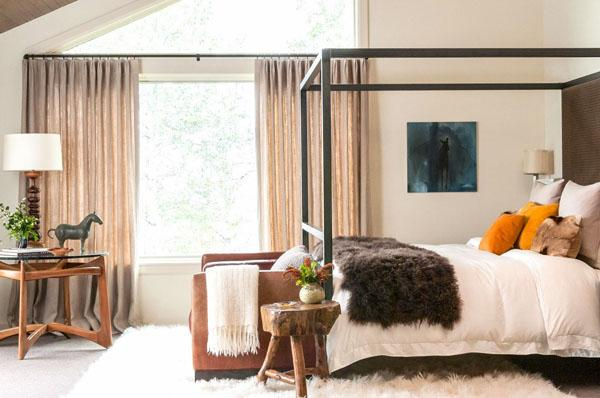 Master bedroom with contemporary elements in the interior