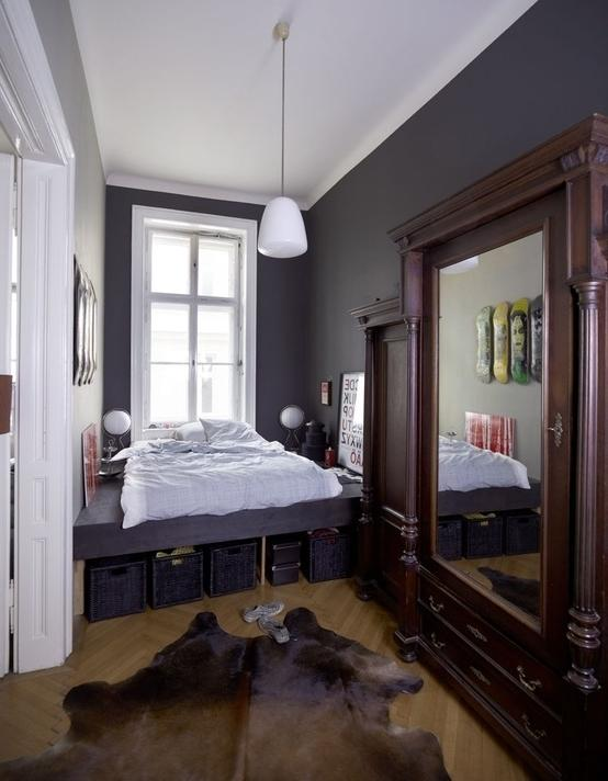 Master bedroom with vintage accents in an authentic Dutch apartment