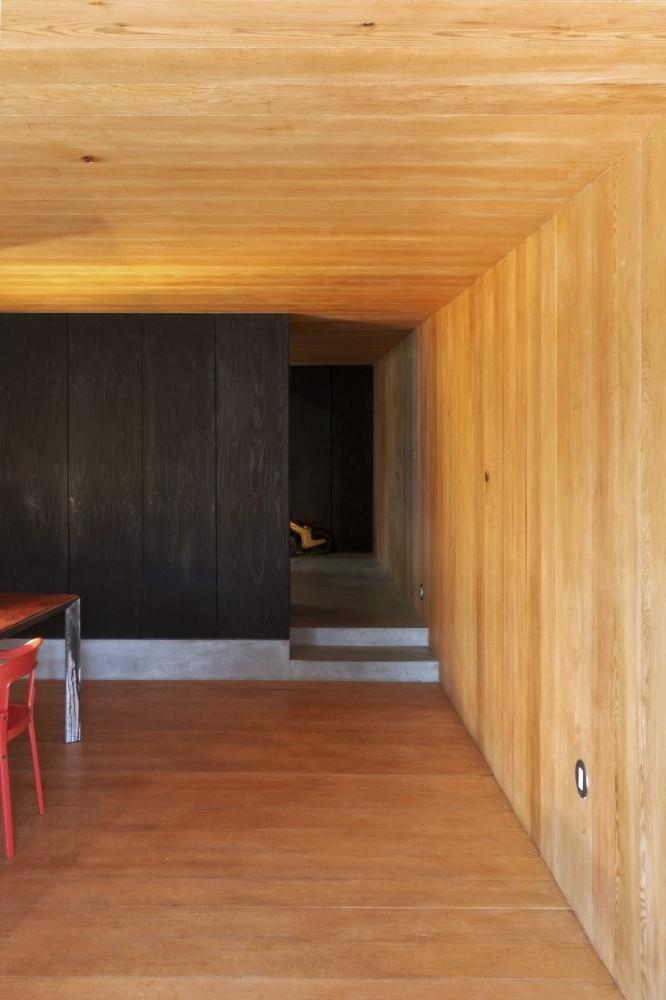 Minimalist house - wooden accents in the floor, walls and ceiling