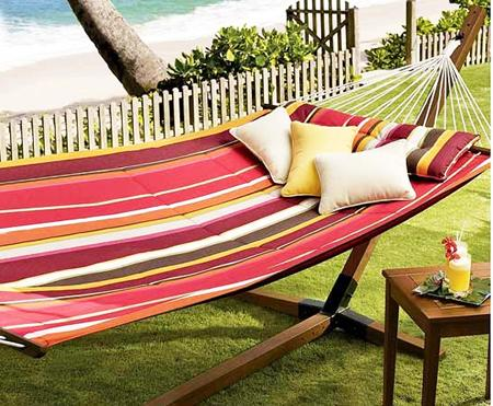 Modern striped hammock– a home garden lounge zone