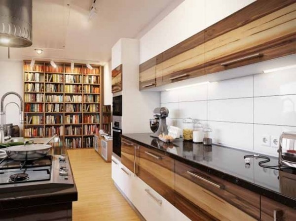 Modern white kitchen design using wood-effective interior design solutions