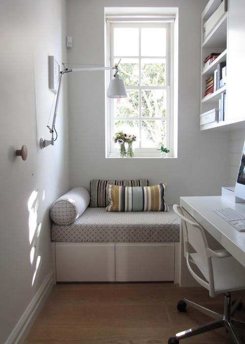 Narrow room with working station- personal office design ideas