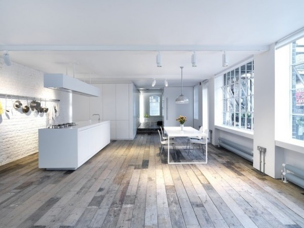 Open plan kitchen in white-Luxurious minimalist loft interior design