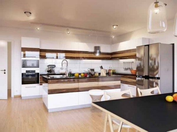 Open plan kitchen in white and wood-effective interior design solutions