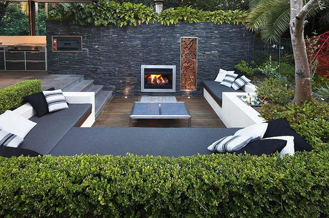 Outdoor patio furniture and TV- Living Concepts in a Contemporary Home