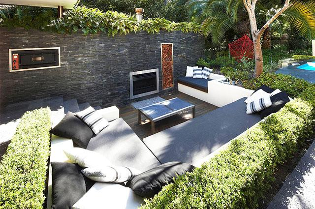 Patio furniture and TV set- Living Concepts in a Contemporary Home