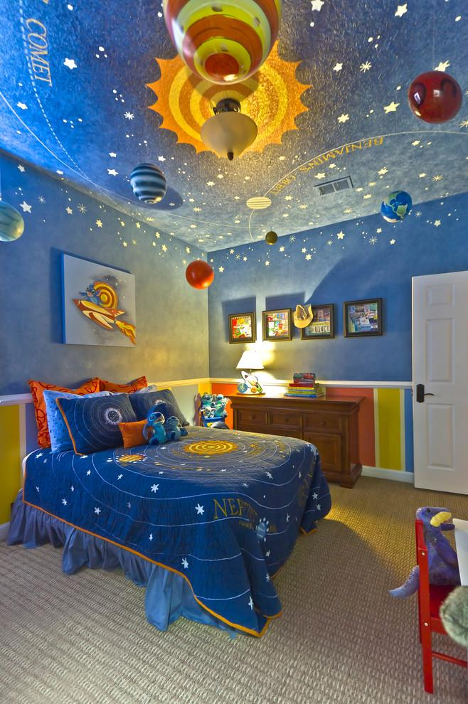 Planetary space kids room design with impressive decors