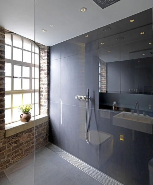 Raw bathroom design with elegant lines-Luxurious minimalist loft interior design