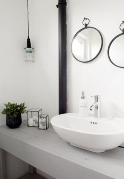 Scandinavian sink and vanity