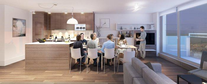 Small apartment design and its dining room and open space kitchen