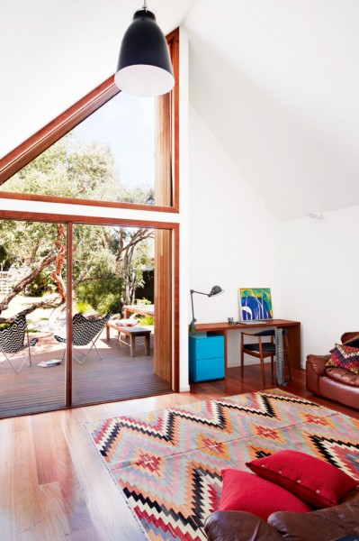 Small living room with graphic rug