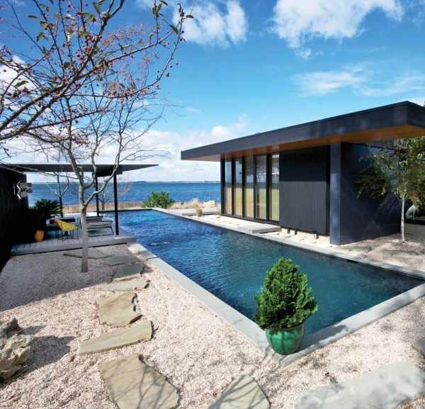 Small outdoor pool- Modern Seaside House by Gray Organschi Architecture