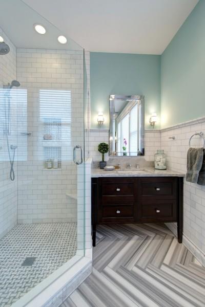 Solid wooden bathroom vanity- Modern Art Deco Bathroom Design in a Victorian Home