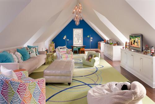 Spacious kids room design with a lot of space for play