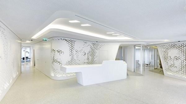 Spacious_contemporary_hallway_in_white-Modern Bank Interior Design - Raiffeisen in Zurich