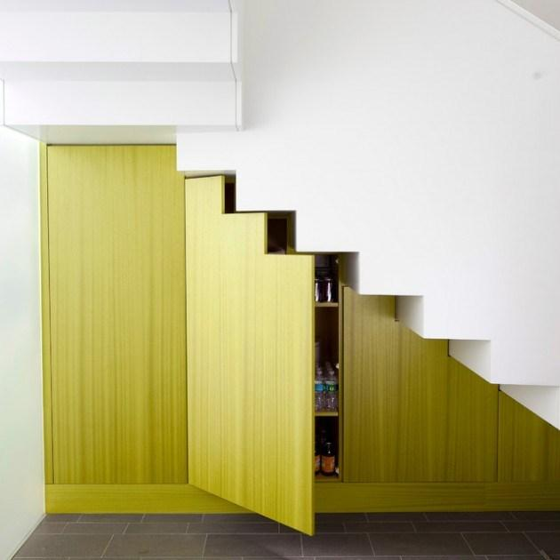 Staircase with useful storage options beneath it