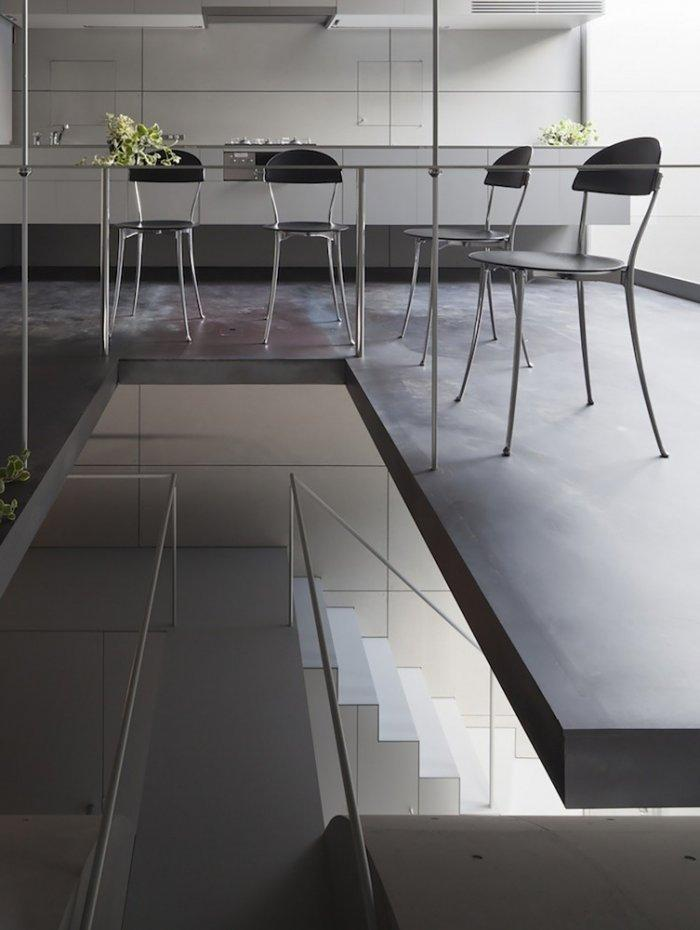 Straight minimalist lines in the living areas- contemporary residential architecture by Makiko Tsukada