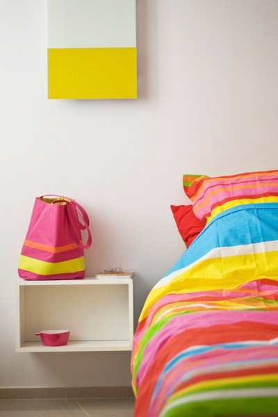 Striped colorful bed cover