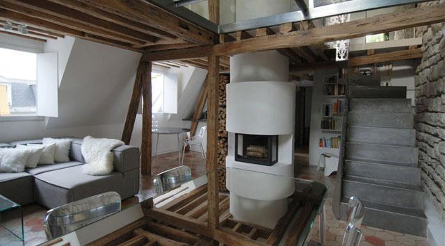 Stylish barn beams inside the living room- Apartment Interior Design in Paris