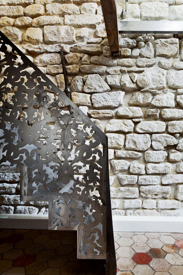 Stylish metal railings on a staircase- Apartment Interior Design in Paris