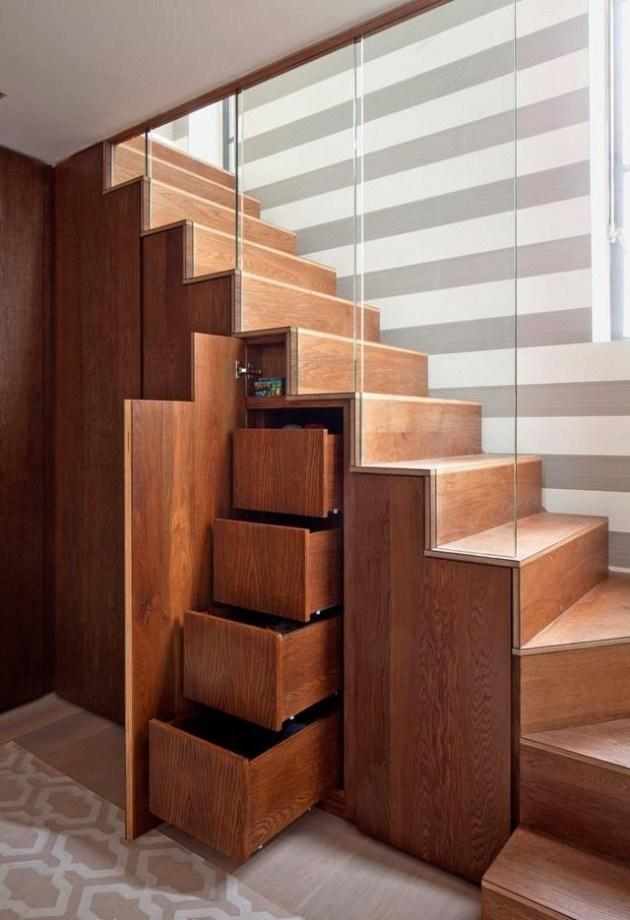 Stylish modern home staircase design made of wood material