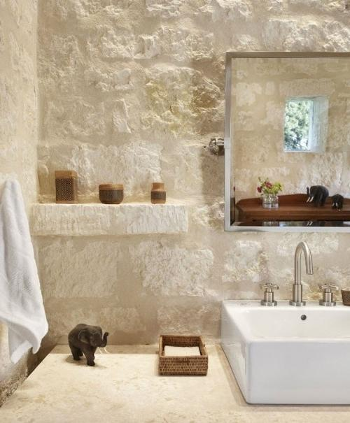Summer Villa - bathroom with stone walls and modern sink