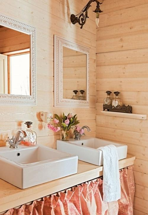 Summer villa - beautiful feminine bathroom with wooden walls