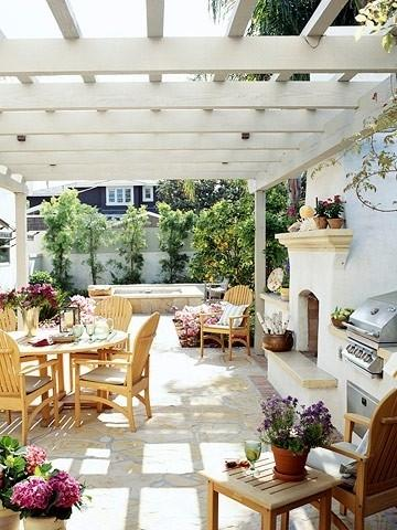 Summer villa - pergola in white with patio furniture