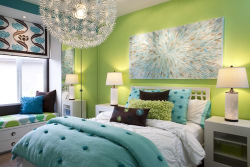 Teenage room design with gorgeous bed in green and blue