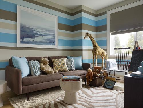 Teenage room design with striped wallpapers in blue, grey and brown