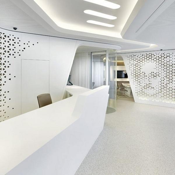 The_contemporary_reception_desk_in_white-Modern Bank Interior Design - Raiffeisen in Zurich