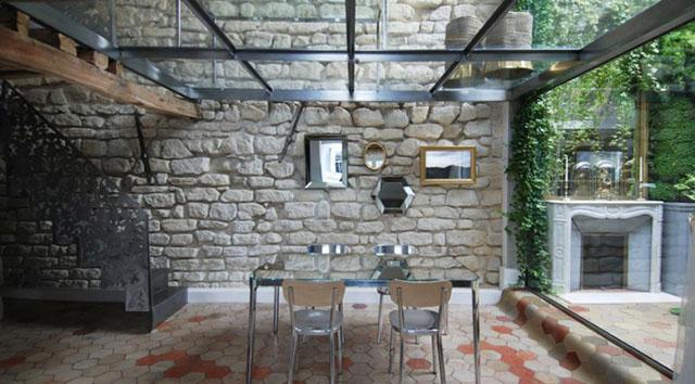 Transparent glass ceiling and stone walls- Apartment Interior Design in Paris