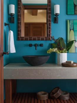 Tropical bathroom in blue